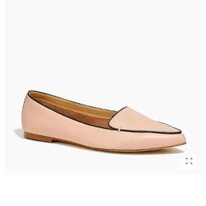 NIB J CREW leather loafers in blush
